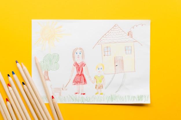 Leuke tekening van alleenstaande moeder op gele achtergrond
