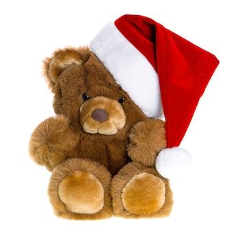 Leuke vintage teddybeer met rode kerstmuts. kerst decoratie