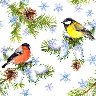 Leuke vogels, kerstboomtakken, sneeuwval. naadloos kerstpatroon. winter aquarel
