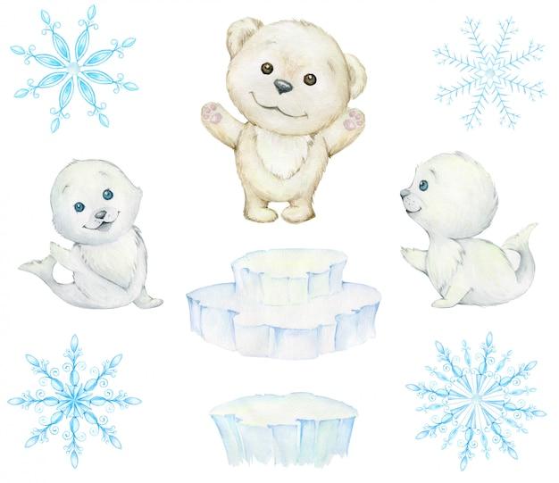 Leuke zeehonden, witte beer, ijsschotsen, sneeuwvlokken. aquarel, winter set. leuke pooldieren.