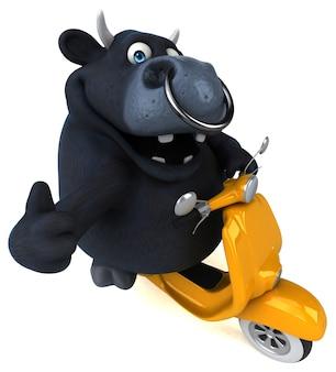 Leuke zwarte stier - 3d illustratie