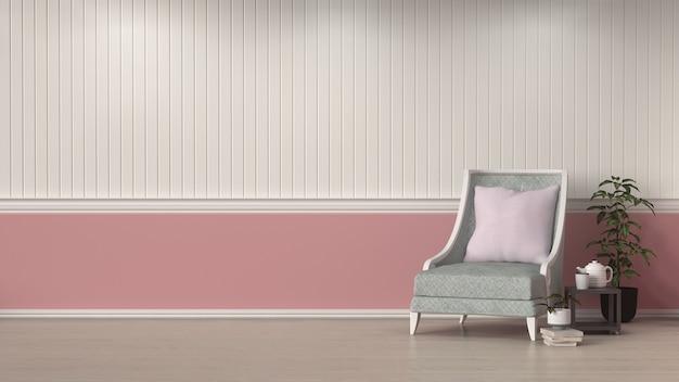 Leunstoel voor witte en roze de ruimtebinnenlandachtergrond van het muur binnenlandse ontwerp