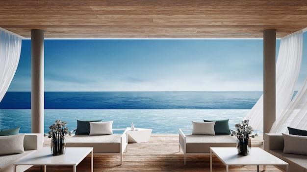 Levende strandlounge - oceaanvilla op overzeese mening voor vakantie en de zomer / 3d geef binnenland terug
