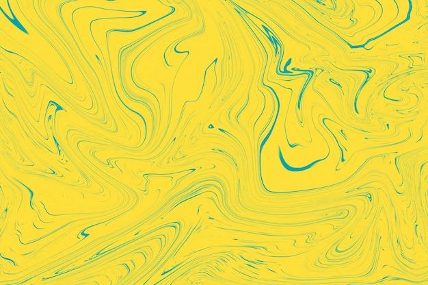Levendig geel blauw pantone kleur trend marmeren textuur ontwerp, abstracte vloeibare verf gemarmerd vloeibare golven achtergrond.