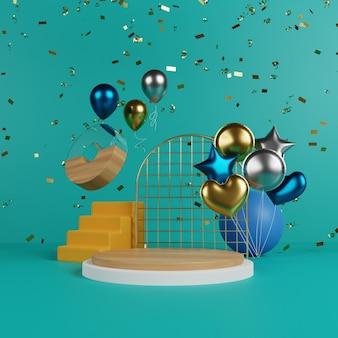 Levendig podium met ballon en confetti