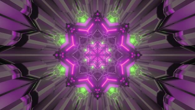 Levendige 3d illustratie abstracte geometrische achtergrond van binnenkant van futuristische stervormige tunnel met glanzende neonlichten
