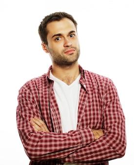 Levensstijl en mensen concept: knappe jonge man in shirt camera kijken
