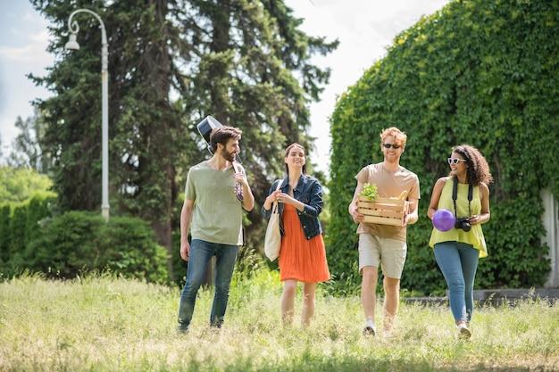 Levensstijl. groep jonge vrolijke mensen met gitaar die bal eet die op zonnige dag op picknick in groen park loopt