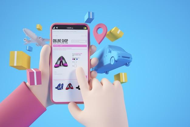 Levering app concept 3d-rendering