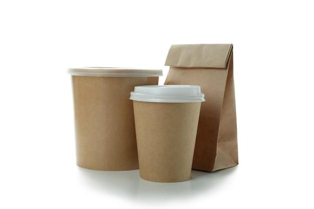 Levering containers voor afhaalmaaltijden geïsoleerd op wit