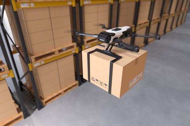 Levering drone in magazijn