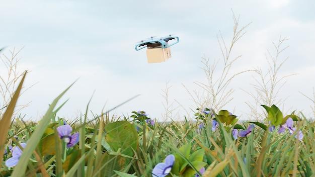 Levering drone met de kartonnen doos, drone snelle levering concept. 3d-rendering