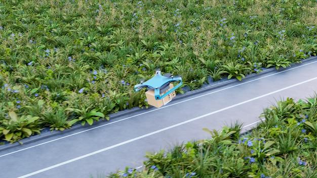 Levering drone met de kartonnen doos, drone snelle levering concept. 3d-weergave