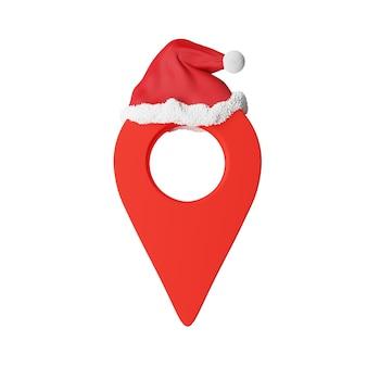 Levering van kerstgeschenken, kaarten wijzen rood met een kerstmuts. hoge kwaliteit foto