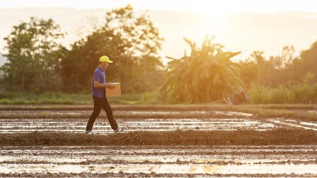 Leveringsmens die bruine pakket of kartondozenlevering houden aan klant bij platteland