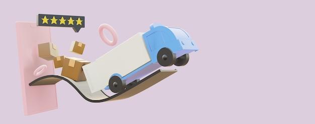 Leveringsproduct op karton met vrachtwagen vanaf smartphone
