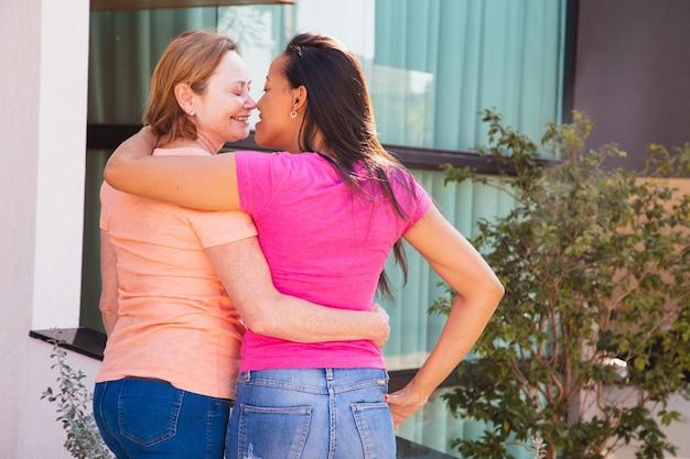 Lgbt lesbisch koppel liefde momenten geluk concept