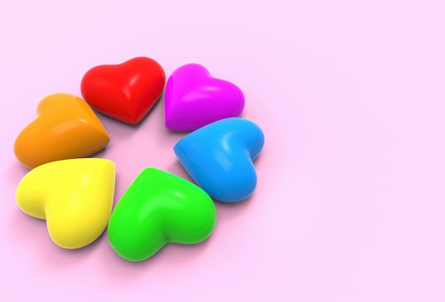 Lgbt regenboog kleurrijke hart vorm objecten op kopie ruimte roze achtergrond.