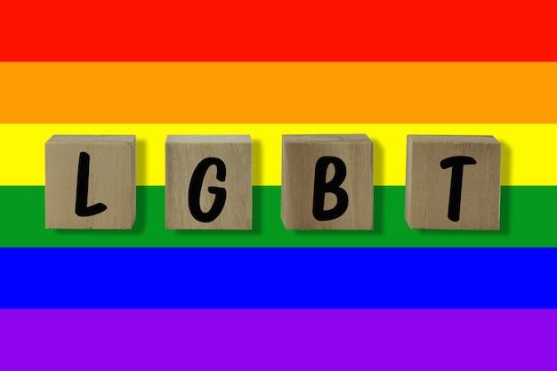 Lgbt-tekst en vlag voor achtergrond
