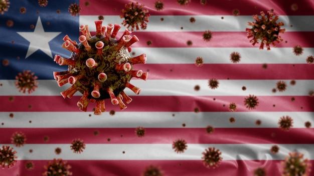 Liberiaanse vlag wappert met uitbraak van coronavirus die het ademhalingssysteem infecteert als gevaarlijke griep