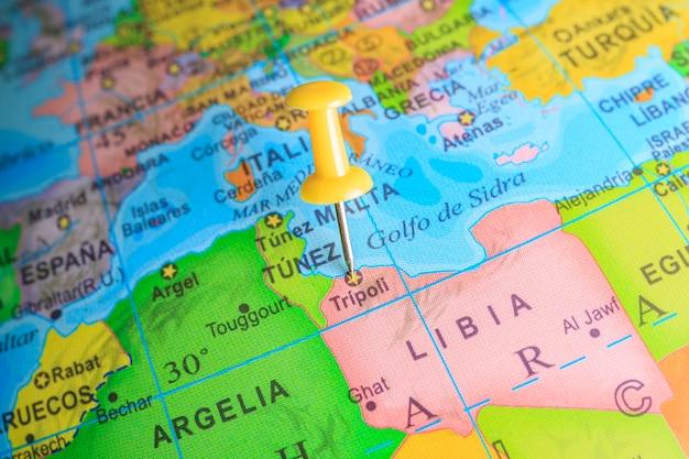 Libië vastgemaakt op een kaart van afrika