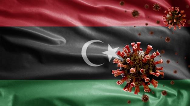 Libische vlag zwaait met uitbraak van coronavirus die het ademhalingssysteem infecteert als gevaarlijke griep