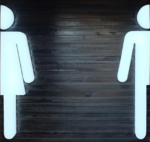Licht bord voor mannelijke en vrouwelijke toiletten