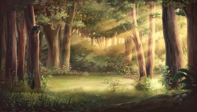 Licht en bos illustratie