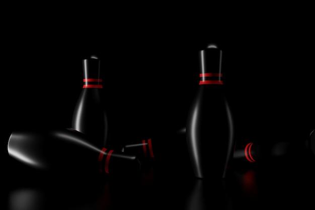 Licht en schaduw van bowling pinnen in de duisternis. 3d-weergave