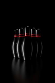 Licht en schaduw van bowling pinnen in de duisternis
