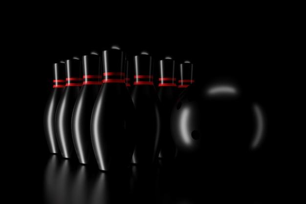 Licht en schaduw van bowling pinnen