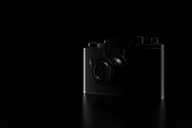 Licht en schaduw van vintage camera in de duisternis. 3d-weergave