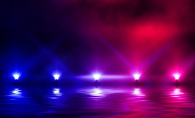 Licht neon effect, energiegolven op een donkere abstracte achtergrond.