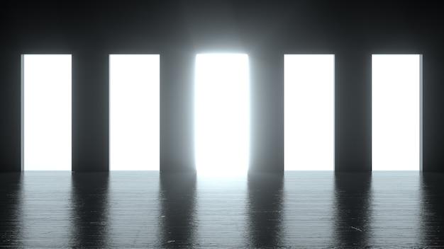 Licht schijnt uit vijf deuropeningen in een donkere kamer