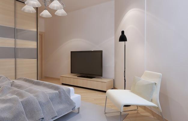 Licht slaapkamerbinnenland met licht bisque kleurmeubilair