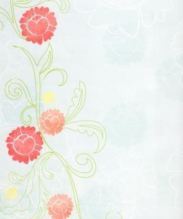 Lichtblauw papier met rode bloemen