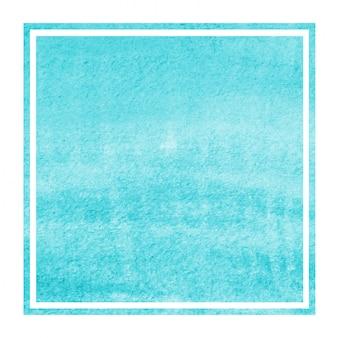 Lichtblauwe hand getrokken van het waterverf rechthoekige kader textuur als achtergrond met vlekken