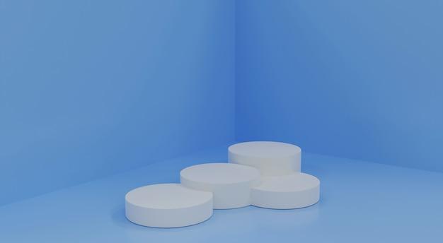 Lichtblauwe minimale scène, podium voor cosmetische productpresentatie. abstracte achtergrond met geometrische vier podium platform in pastelkleuren. sjabloon voor ontwerp, presentatie, advertising.3d render