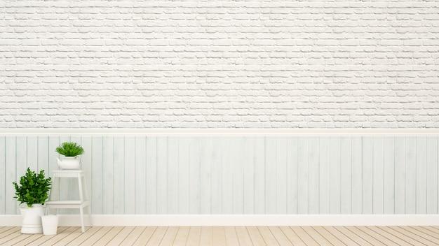 Lichtblauwe wanddecoratie met bakstenen muur
