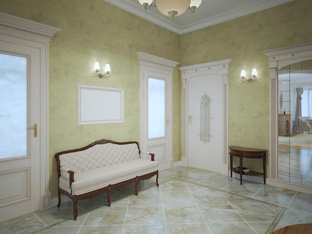 Lichte hal met mahoniehouten meubelen in luxe woonhuis.