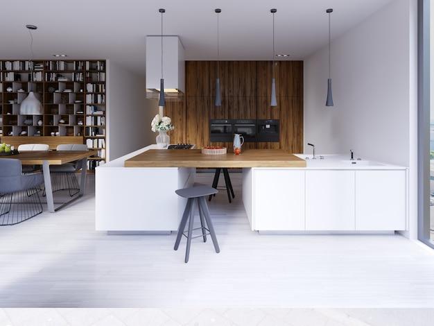 Lichte keuken in eigentijdse stijl met uitzicht op de woonkamer. witte en houten gevel. inbouwapparatuur en design afzuigkappen. hanglampen op een massieve bar op het aanrecht. wit parket. 3d-rendering.