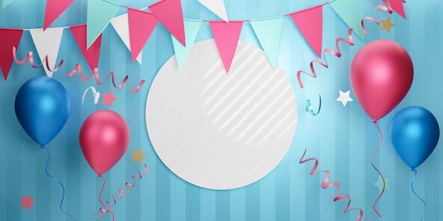 Lichte partij element banner achtergrond. 3d roze blauwe ballon geschenkdoos ster en hangende vlag op witte blauwe streep achtergrond. 3d illustratie rendering