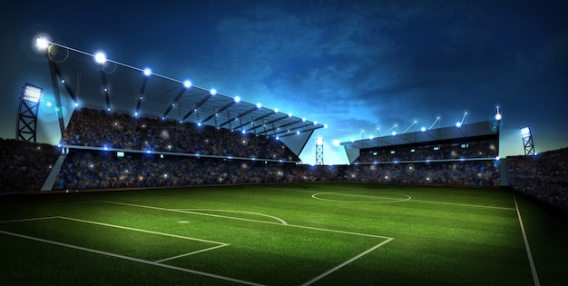 Lichten 's nachts en stadion. sport achtergrond. 3d render