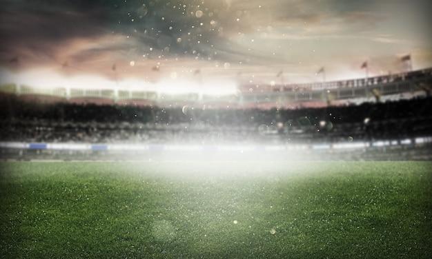 Lichten 's nachts leeg stadion