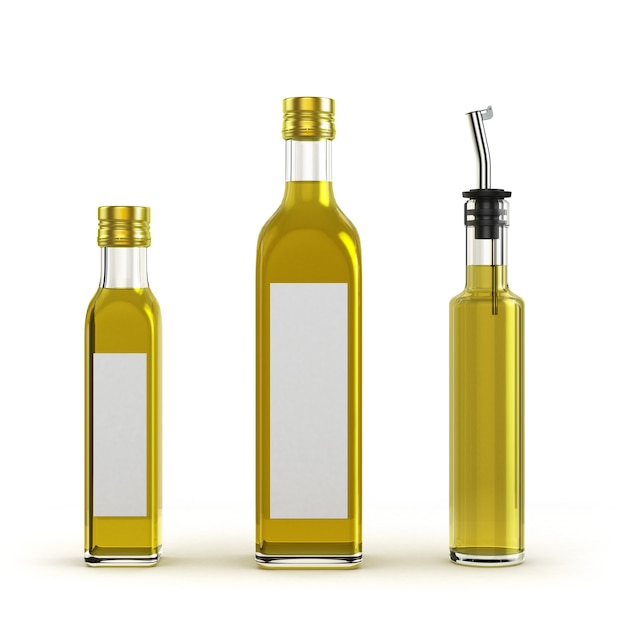 Lichtere glazen flessen voor olijfolie van verschillende grootte geïsoleerd op een witte achtergrond