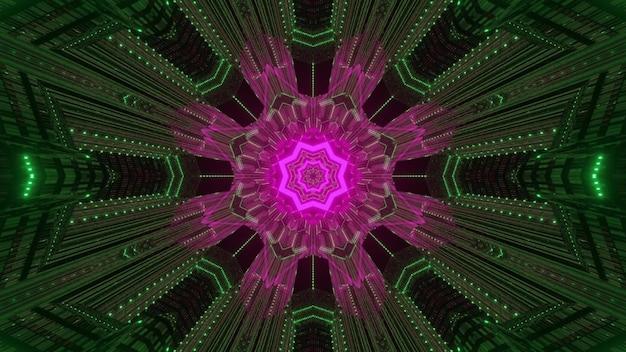 Lichtgevende abstracte 3d illustratie van caleidoscoop
