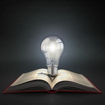 Lichtgevende gloeilamp op open boek idee of creativiteit concept onderwijs 3d