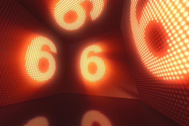 Lichtgevende kubus van led's van binnenuit met de nummer 6 3d illustratie