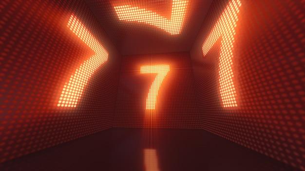 Lichtgevende kubus van led's van binnenuit met de nummer 7 3d illustratie