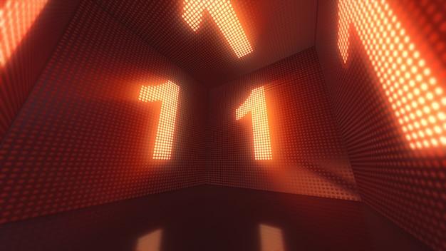Lichtgevende kubus van led's van binnenuit met de nummer één 3d-afbeelding